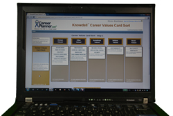 pic of laptop running knowdell career values card sort